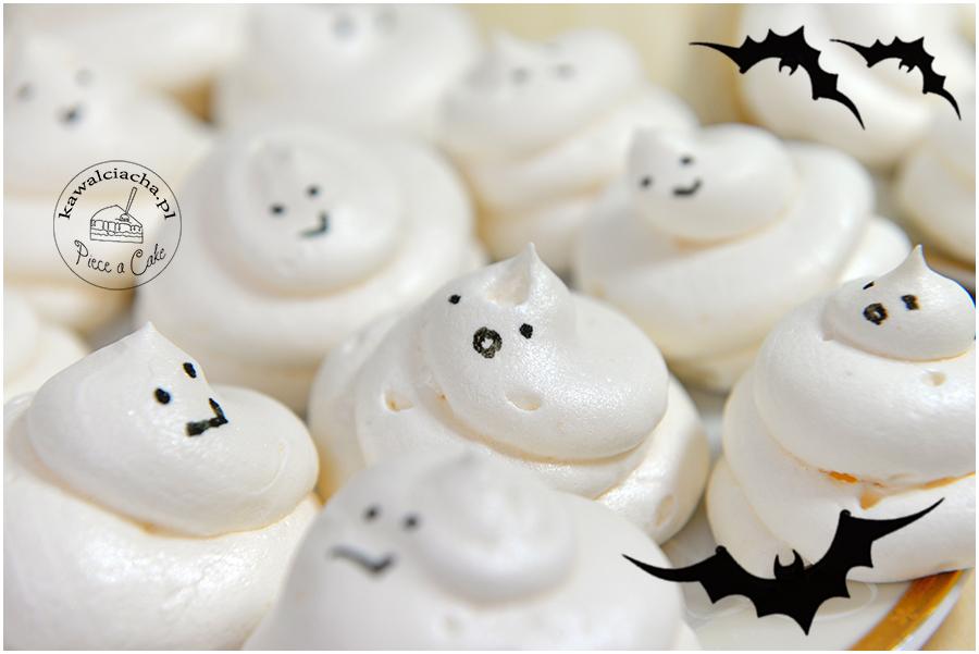 halloweenowe, bezowe duszki