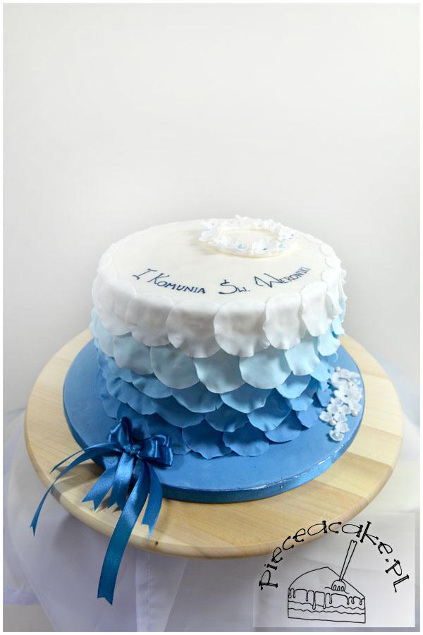 """Tort komunijny w stylu angielskim """"Niebieskie ombre"""""""