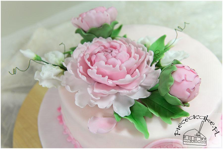 Wedding cake piwonie i groszek