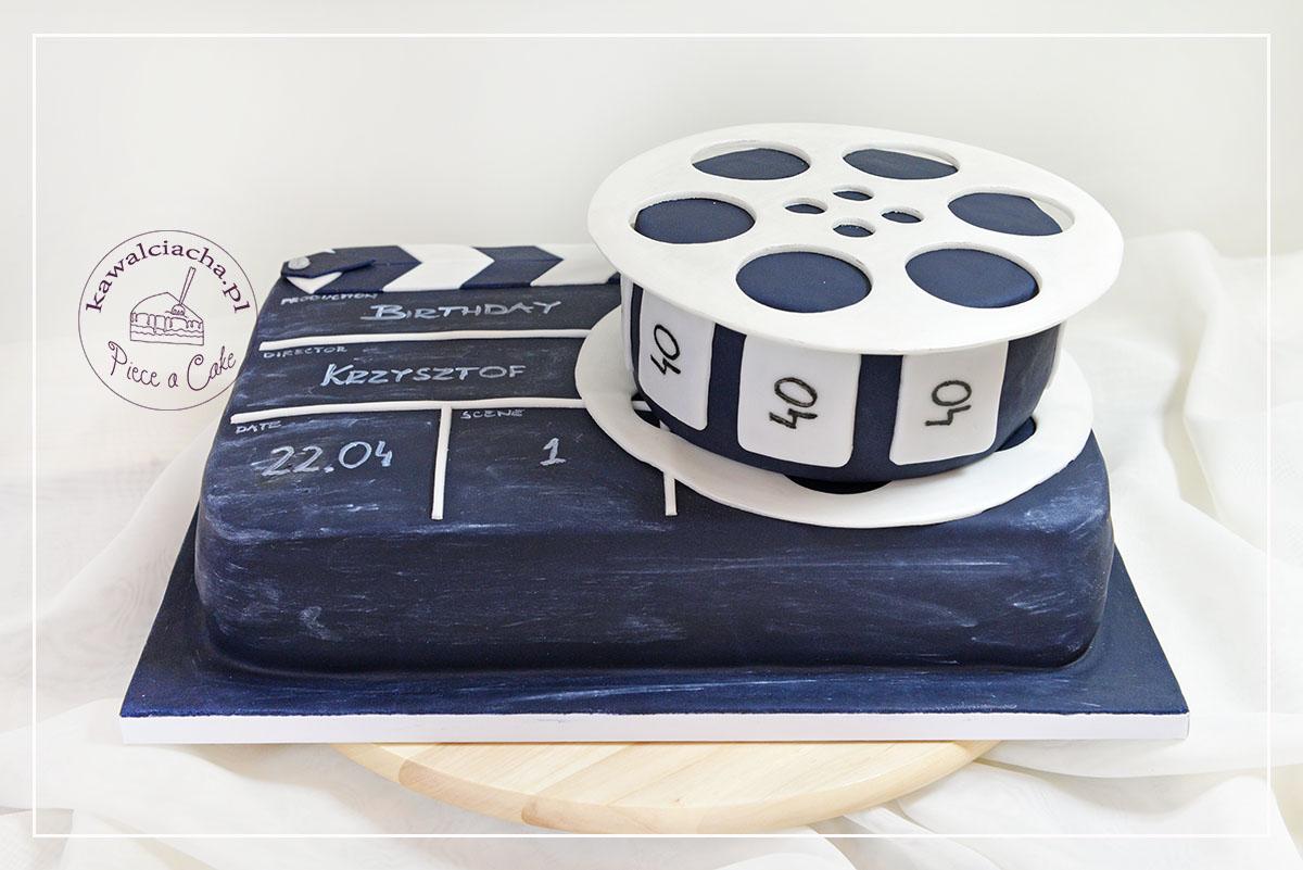 Tort urodzinowy dla filmowca clapboard