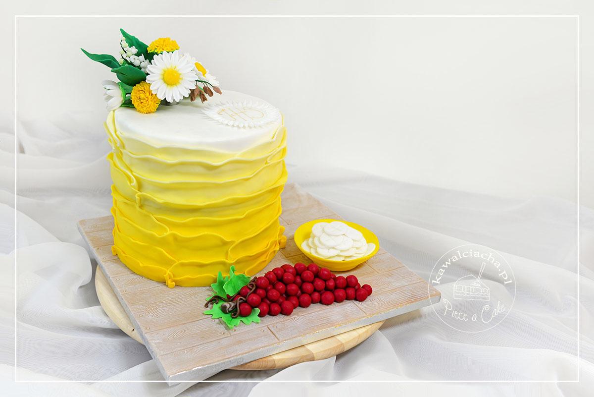 Obrazek: Tort na komunię z polnymi kwiatami