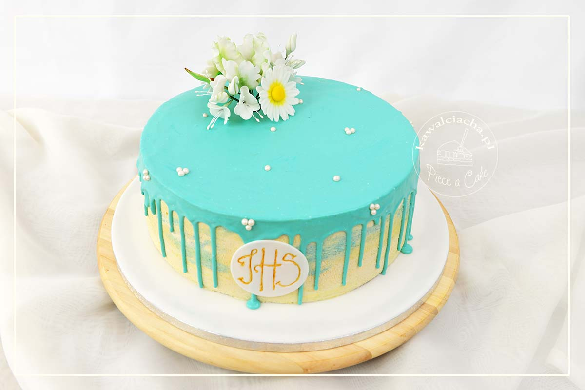 Tort komunijny niebieski drp